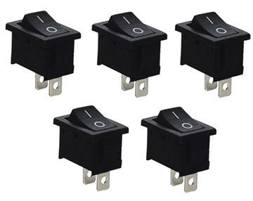 Interruptores 10x15mm, 3A/250V, on/off 5 uds