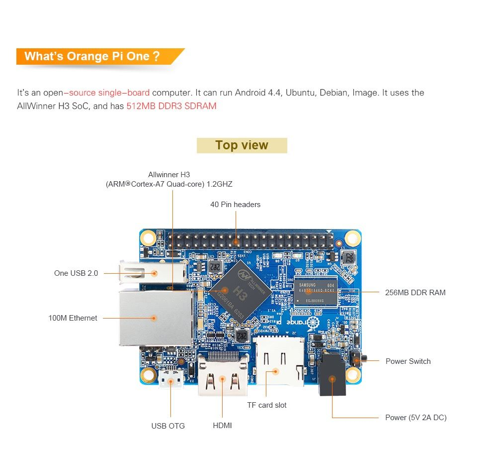 Orange Pi ONE H3 (similar a la Raspberry)