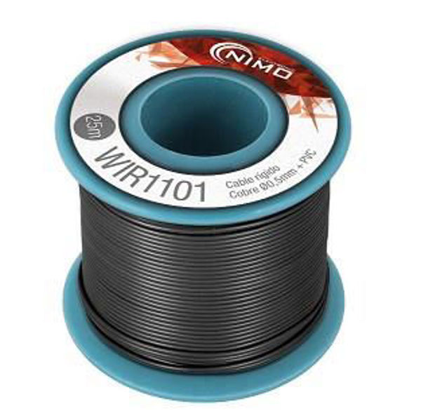 Cable rígido AWG24, hilo de 0,5mm, 25mts Negro